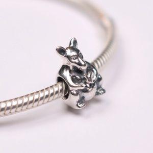 Authentic PANDORA Silver Kangaroo w Baby Charm